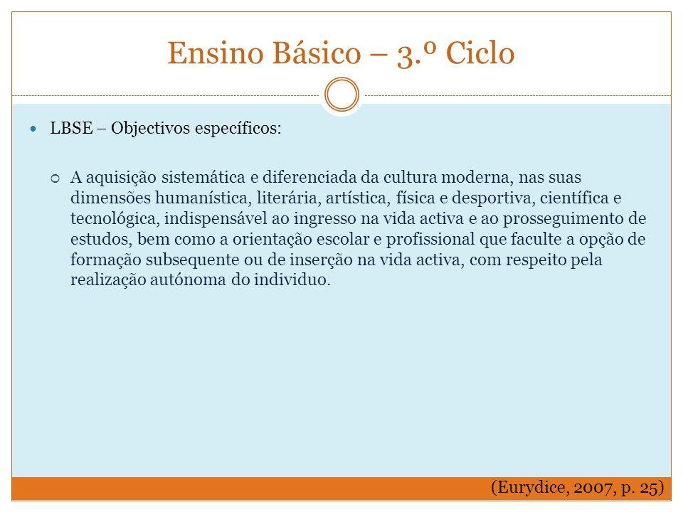 Ensino Básico – 3.º Ciclo LBSE – Objectivos específicos:
