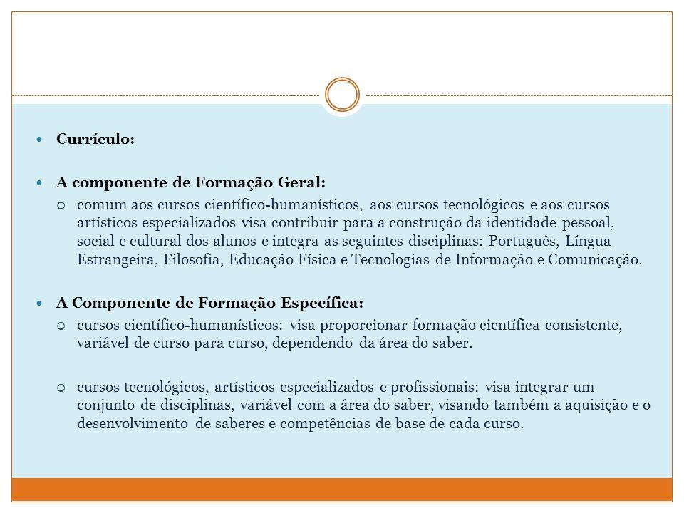 Currículo: A componente de Formação Geral: