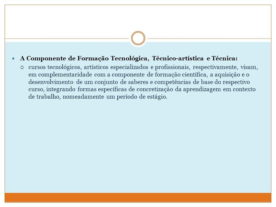 A Componente de Formação Tecnológica, Técnico-artística e Técnica:
