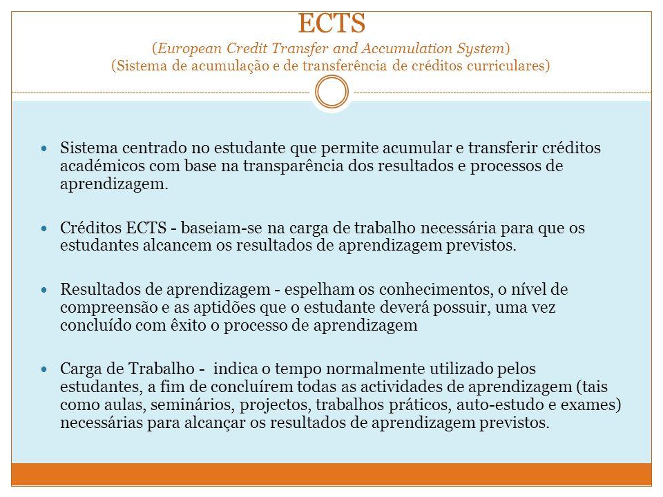 ECTS (European Credit Transfer and Accumulation System) (Sistema de acumulação e de transferência de créditos curriculares)