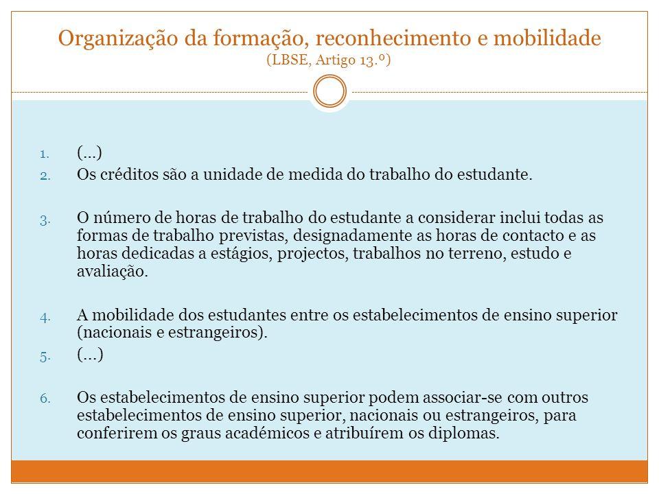 Organização da formação, reconhecimento e mobilidade (LBSE, Artigo 13
