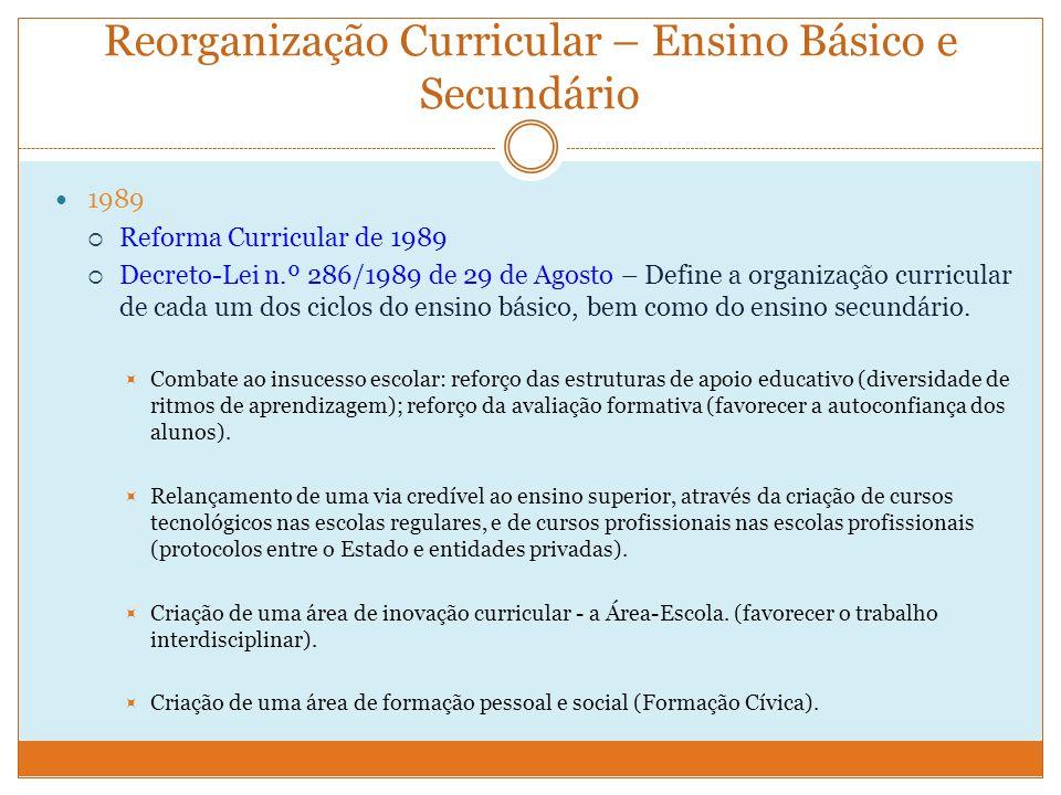 Reorganização Curricular – Ensino Básico e Secundário