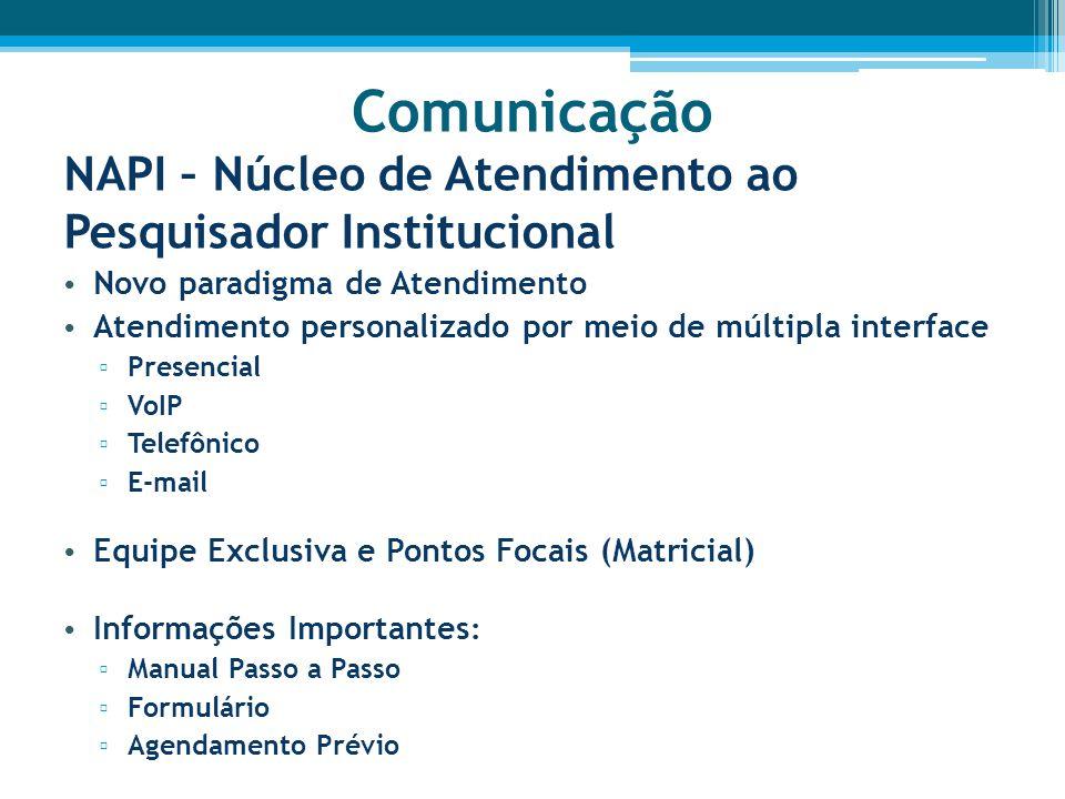 Comunicação NAPI – Núcleo de Atendimento ao Pesquisador Institucional