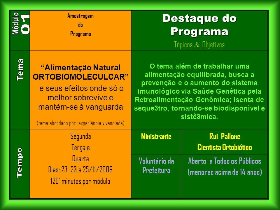 . Módulo 01 Tema Tempo Destaque do Programa Tópicos & Objetivos