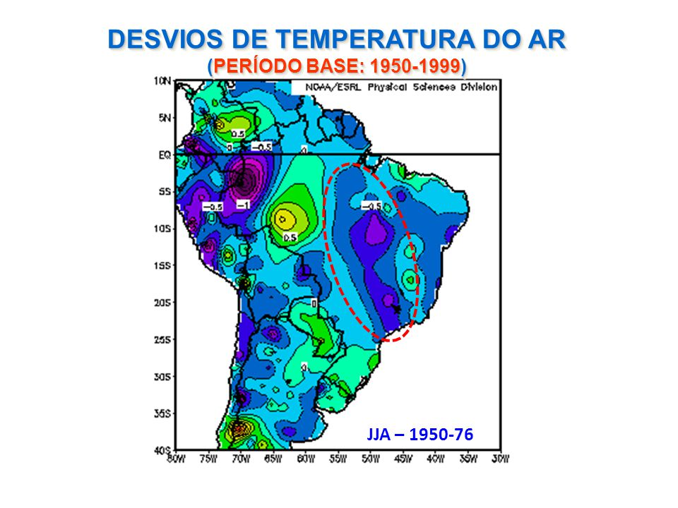DESVIOS DE TEMPERATURA DO AR (PERÍODO BASE: 1950-1999)