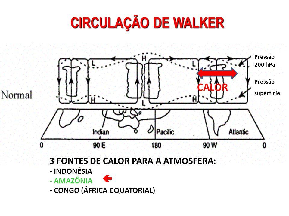 CIRCULAÇÃO DE WALKER CALOR 3 FONTES DE CALOR PARA A ATMOSFERA: 