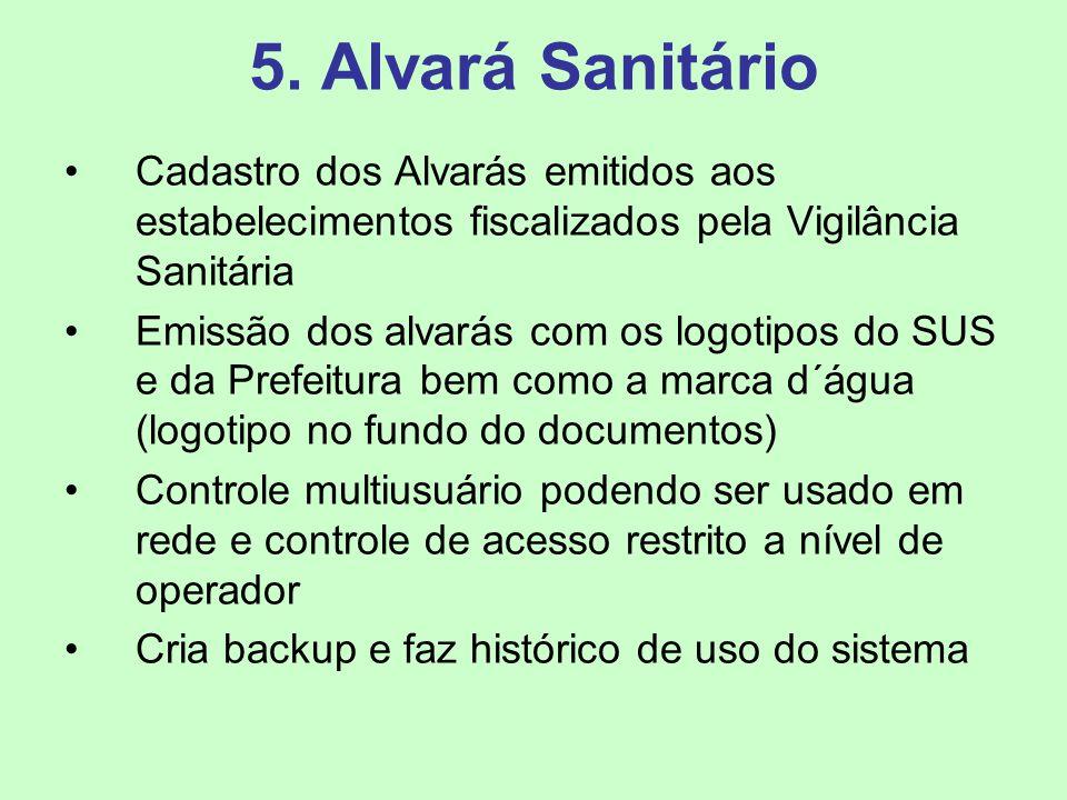 5. Alvará Sanitário Cadastro dos Alvarás emitidos aos estabelecimentos fiscalizados pela Vigilância Sanitária.
