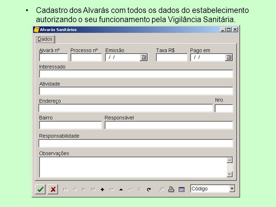 Cadastro dos Alvarás com todos os dados do estabelecimento autorizando o seu funcionamento pela Vigilância Sanitária.