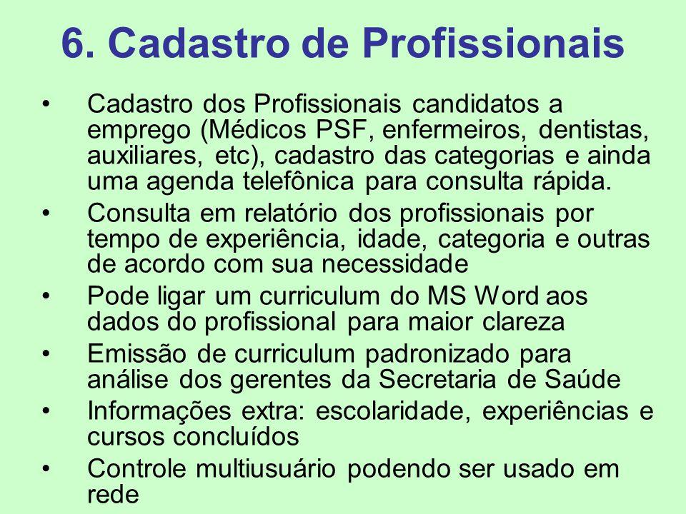 6. Cadastro de Profissionais