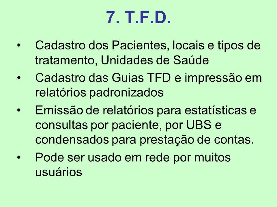 7. T.F.D. Cadastro dos Pacientes, locais e tipos de tratamento, Unidades de Saúde. Cadastro das Guias TFD e impressão em relatórios padronizados.