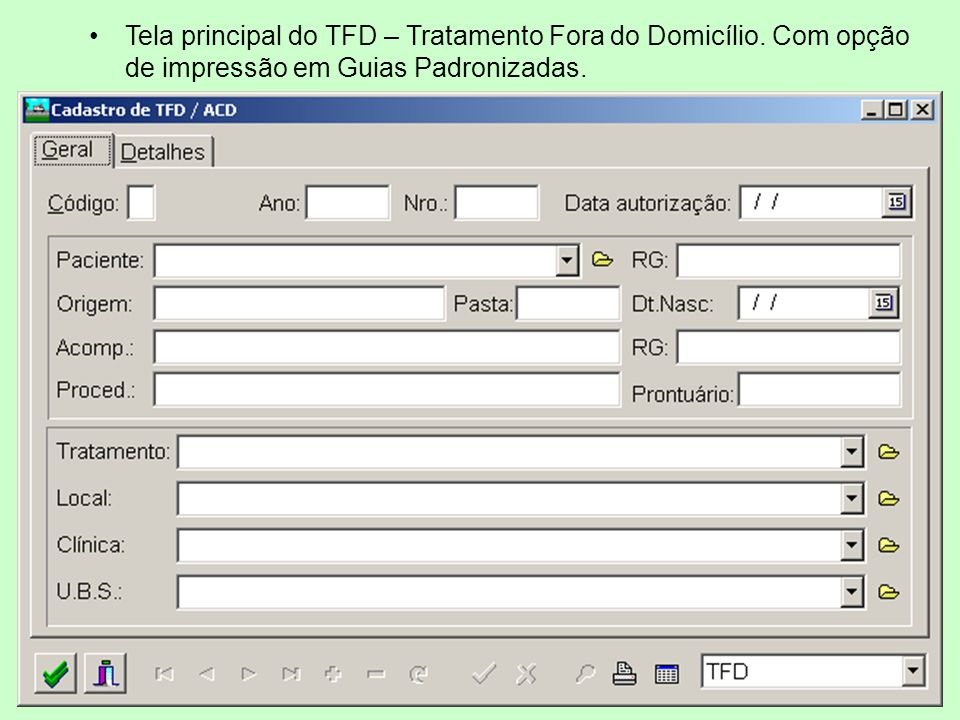 Tela principal do TFD – Tratamento Fora do Domicílio