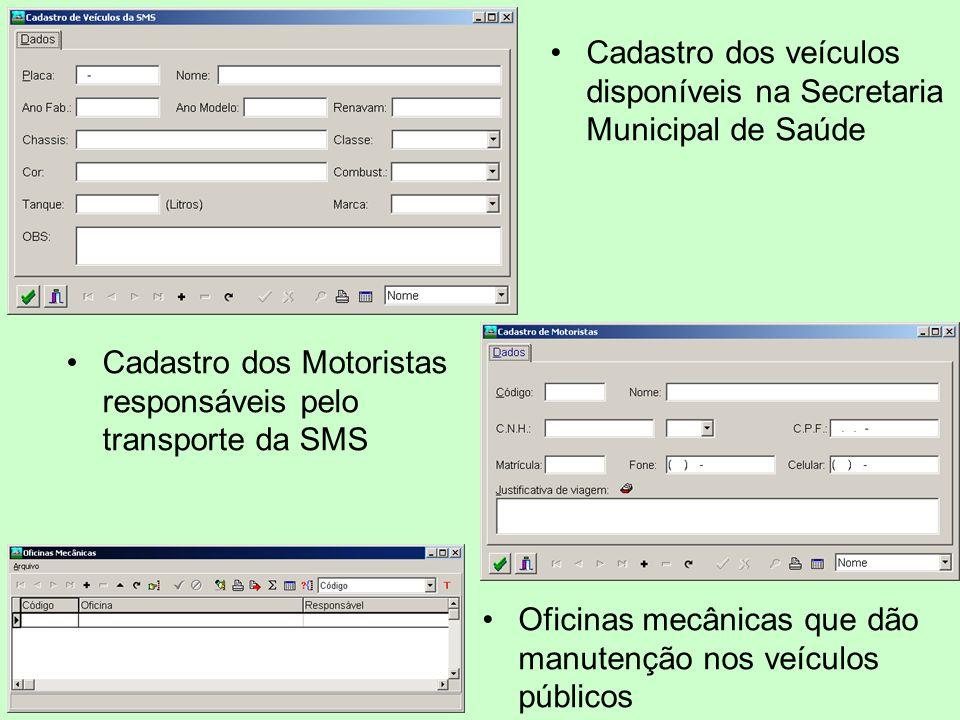 Cadastro dos veículos disponíveis na Secretaria Municipal de Saúde