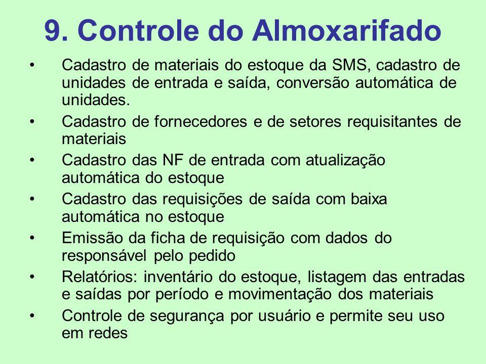 9. Controle do Almoxarifado