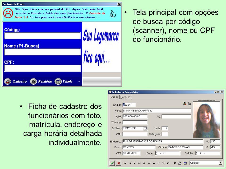 Tela principal com opções de busca por código (scanner), nome ou CPF do funcionário.