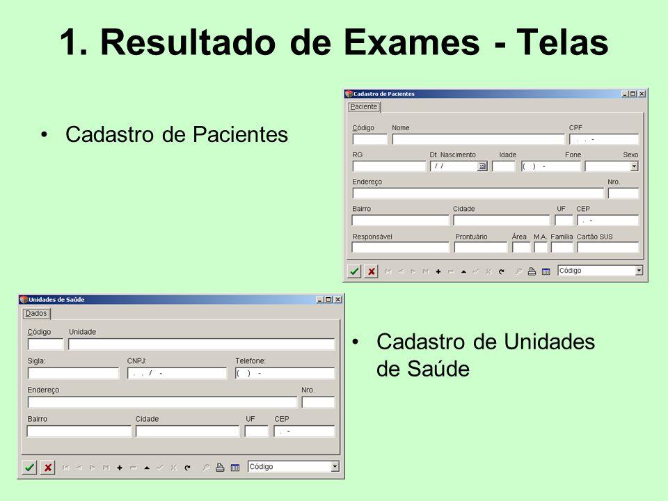1. Resultado de Exames - Telas