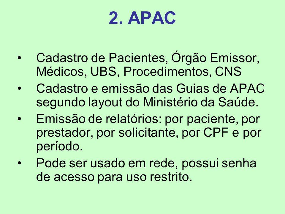 2. APAC Cadastro de Pacientes, Órgão Emissor, Médicos, UBS, Procedimentos, CNS.