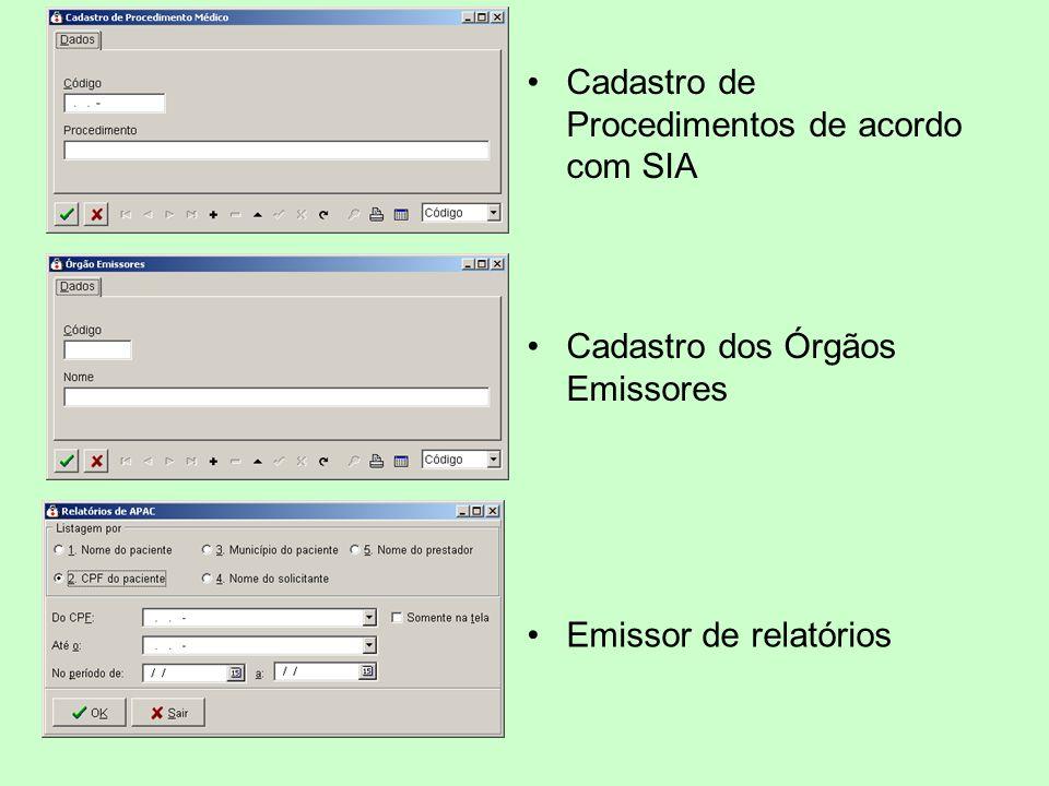 Cadastro de Procedimentos de acordo com SIA