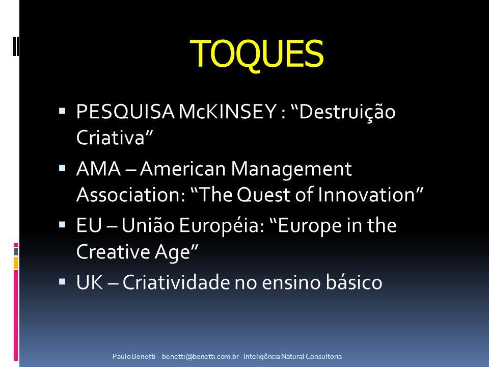 TOQUES PESQUISA McKINSEY : Destruição Criativa