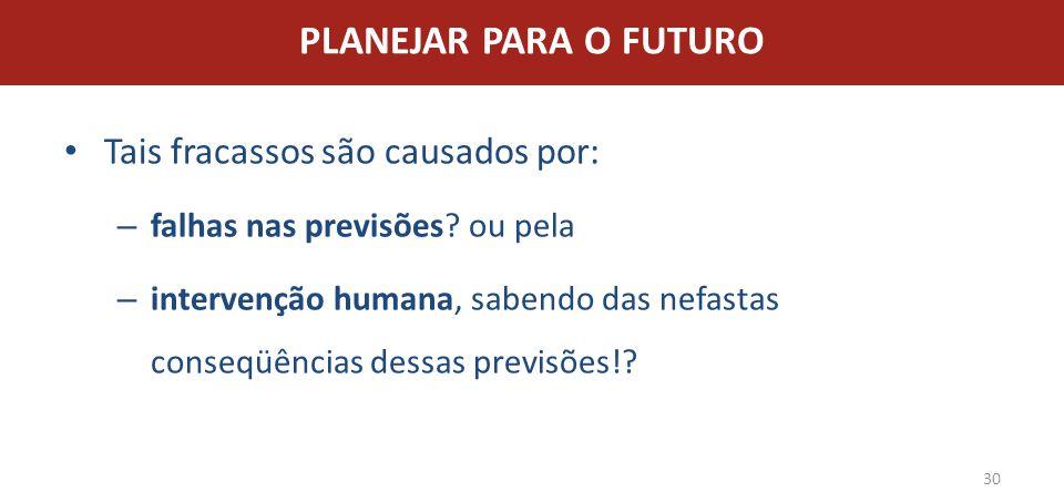 PLANEJAR PARA O FUTURO Tais fracassos são causados por: