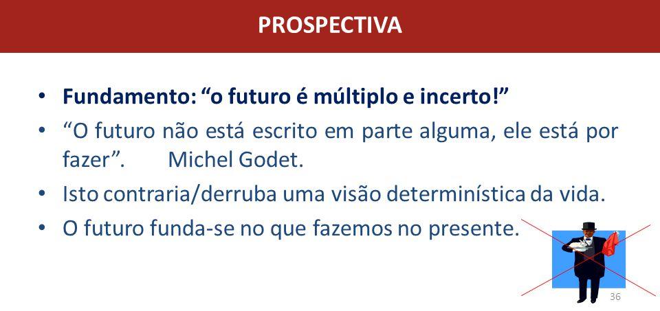 PROSPECTIVA Fundamento: o futuro é múltiplo e incerto!
