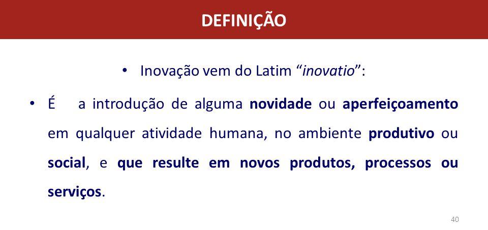 Inovação vem do Latim inovatio :
