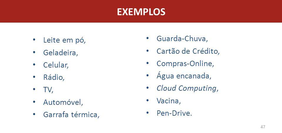 EXEMPLOS Guarda-Chuva, Leite em pó, Cartão de Crédito, Geladeira,