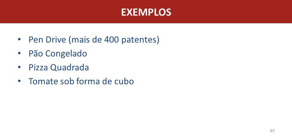 EXEMPLOS Pen Drive (mais de 400 patentes) Pão Congelado Pizza Quadrada