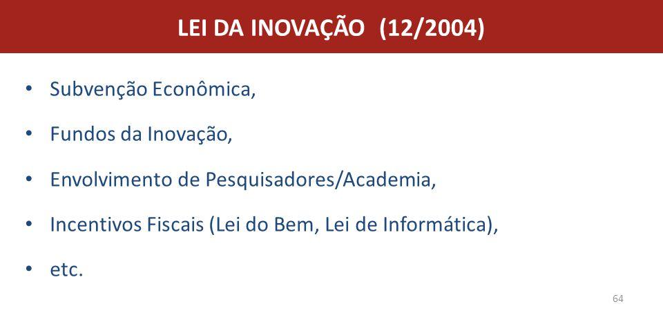 LEI DA INOVAÇÃO (12/2004) Subvenção Econômica, Fundos da Inovação,