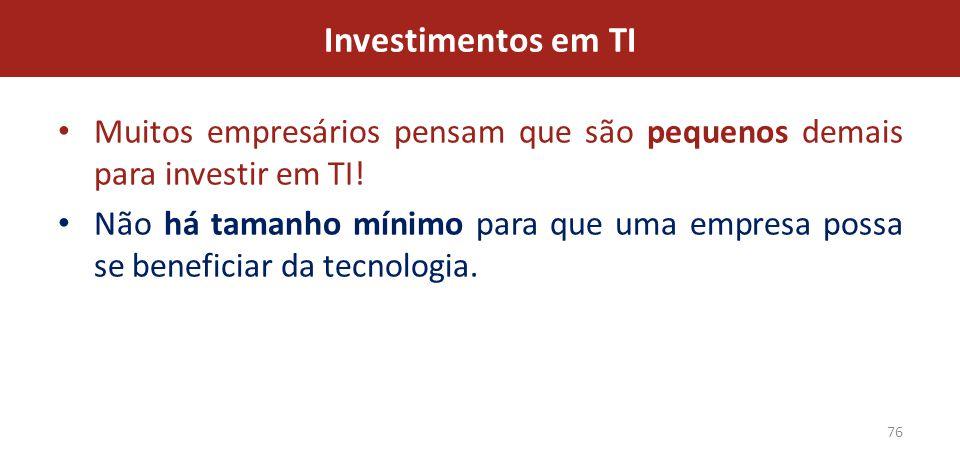 Investimentos em TI Muitos empresários pensam que são pequenos demais para investir em TI!