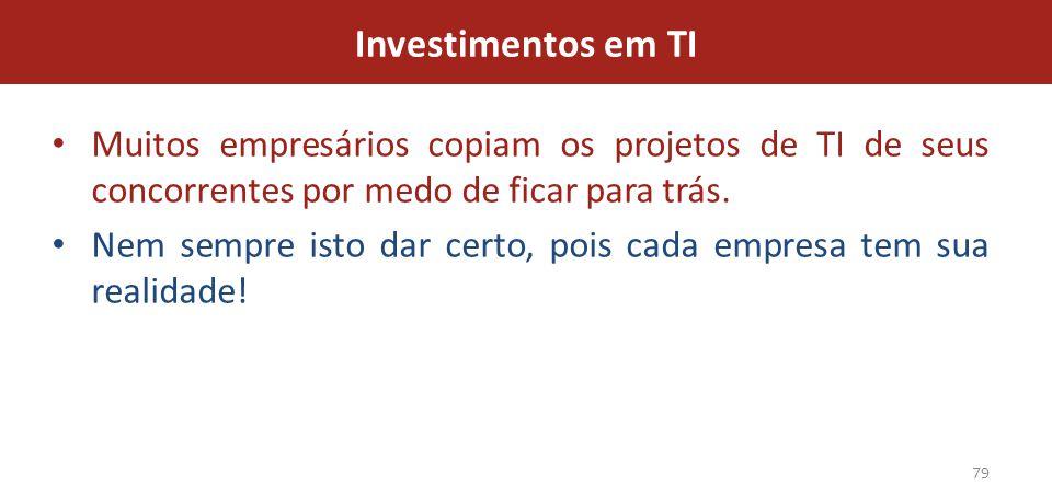 Investimentos em TI Muitos empresários copiam os projetos de TI de seus concorrentes por medo de ficar para trás.