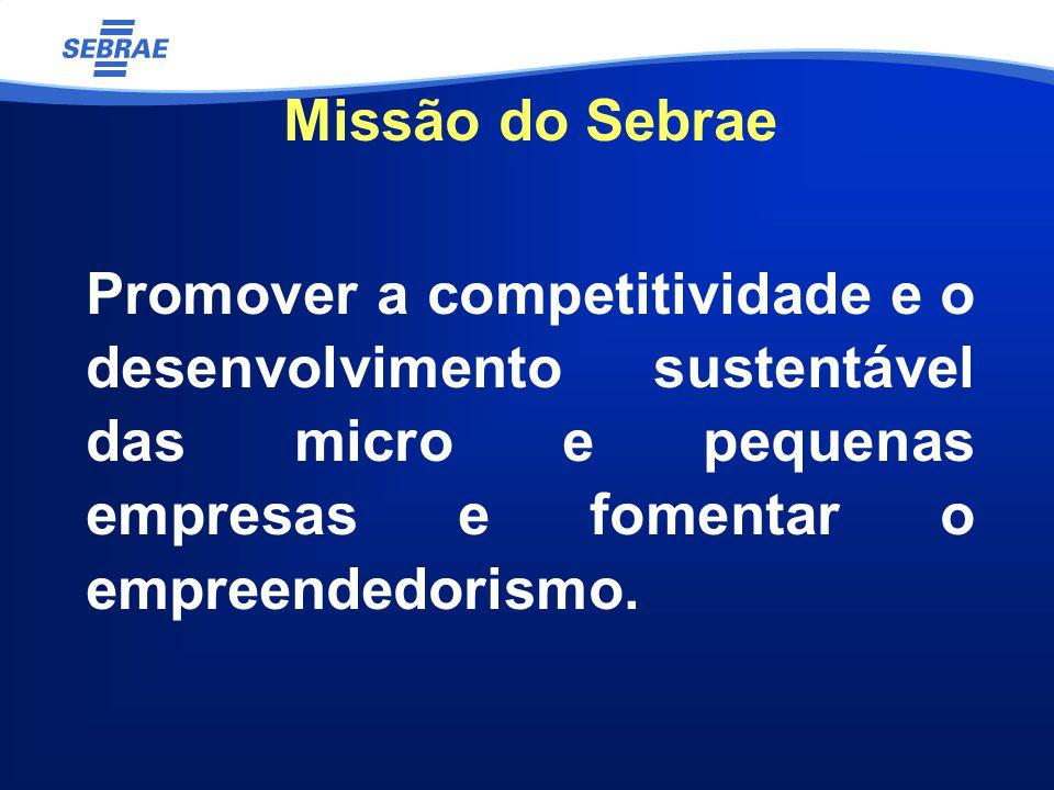 Missão do Sebrae Promover a competitividade e o desenvolvimento sustentável das micro e pequenas empresas e fomentar o empreendedorismo.