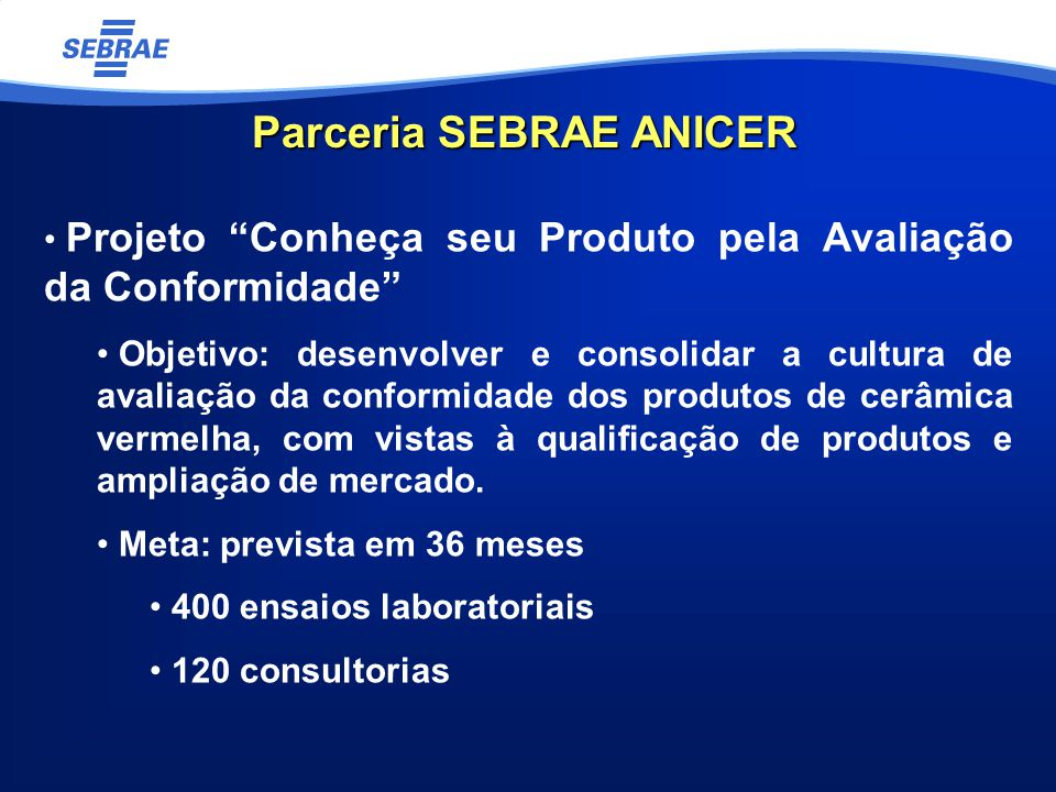 Parceria SEBRAE ANICER