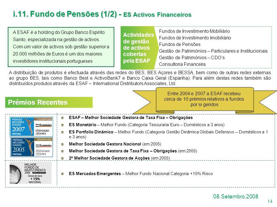 i.11. Fundo de Pensões (1/2) - ES Activos Financeiros