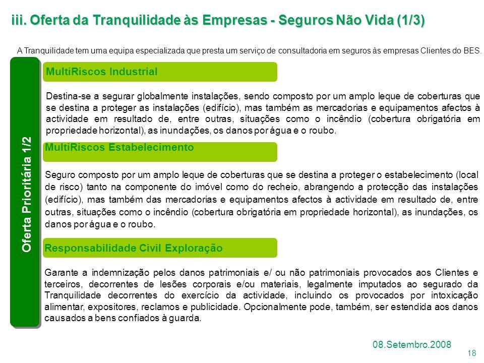 iii. Oferta da Tranquilidade às Empresas - Seguros Não Vida (1/3)