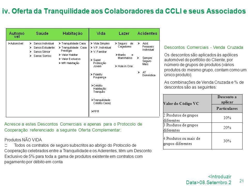 26.Agosto.2008 iv. Oferta da Tranquilidade aos Colaboradores da CCLI e seus Associados. Descontos Comerciais - Venda Cruzada.