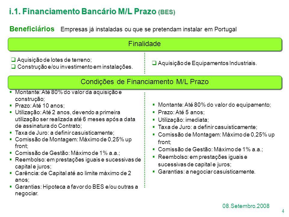 Condições de Financiamento M/L Prazo