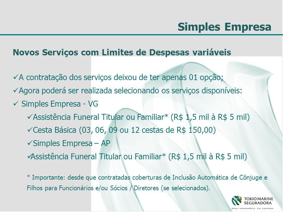 Simples Empresa Novos Serviços com Limites de Despesas variáveis