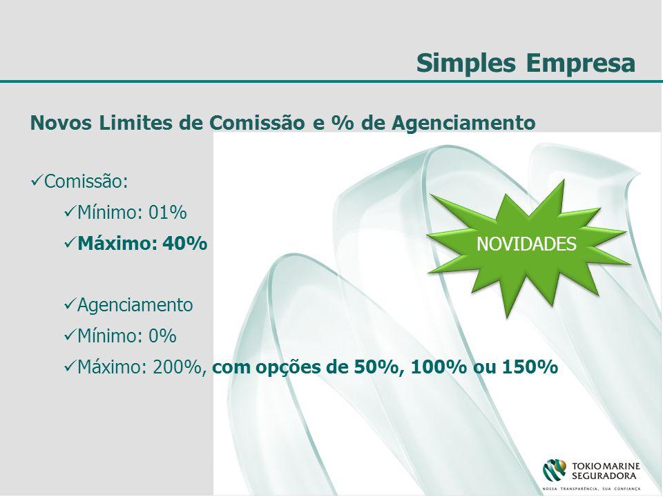 Simples Empresa Novos Limites de Comissão e % de Agenciamento