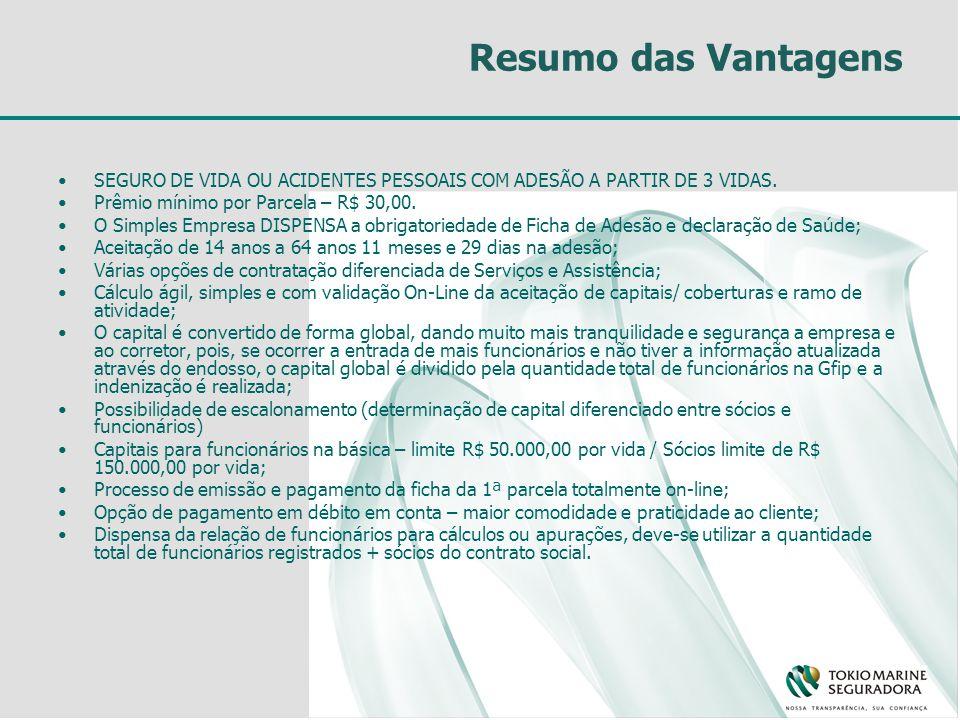 Resumo das Vantagens SEGURO DE VIDA OU ACIDENTES PESSOAIS COM ADESÃO A PARTIR DE 3 VIDAS. Prêmio mínimo por Parcela – R$ 30,00.