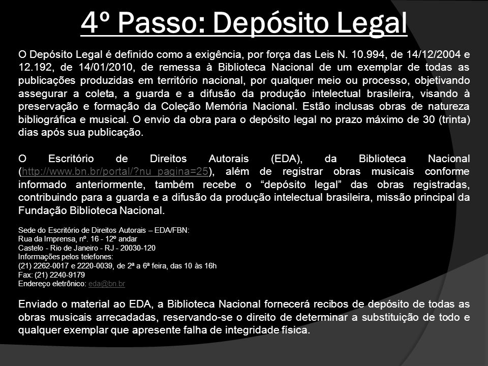 4º Passo: Depósito Legal