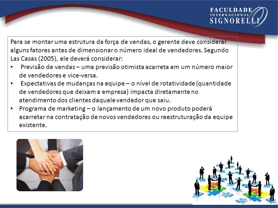 Para se montar uma estrutura da força de vendas, o gerente deve considerar alguns fatores antes de dimensionar o número ideal de vendedores. Segundo Las Casas (2005), ele deverá considerar: