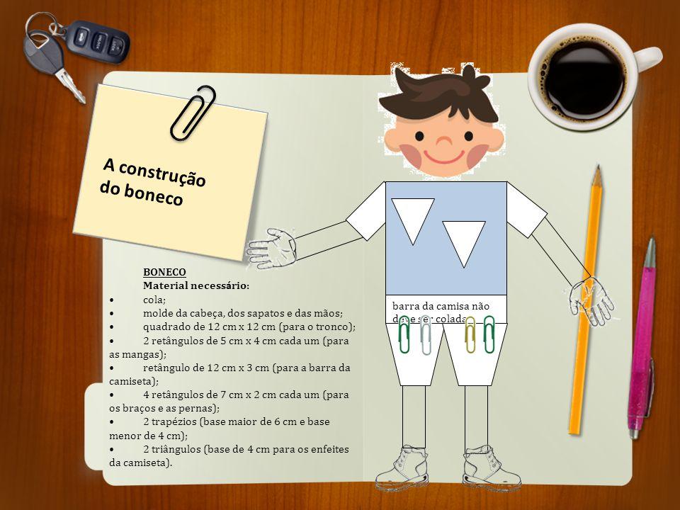 A construção do boneco BONECO Material necessário: cola;