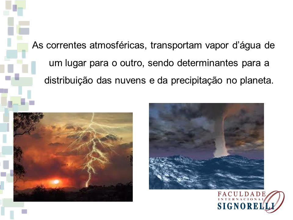 As correntes atmosféricas, transportam vapor d'água de um lugar para o outro, sendo determinantes para a distribuição das nuvens e da precipitação no planeta.
