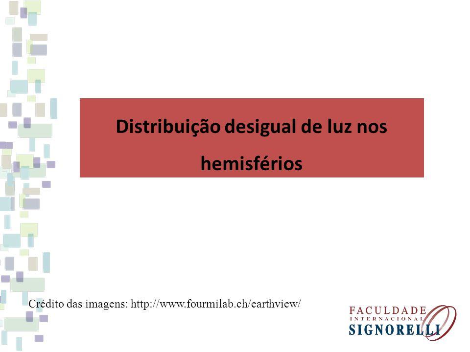 Distribuição desigual de luz nos hemisférios