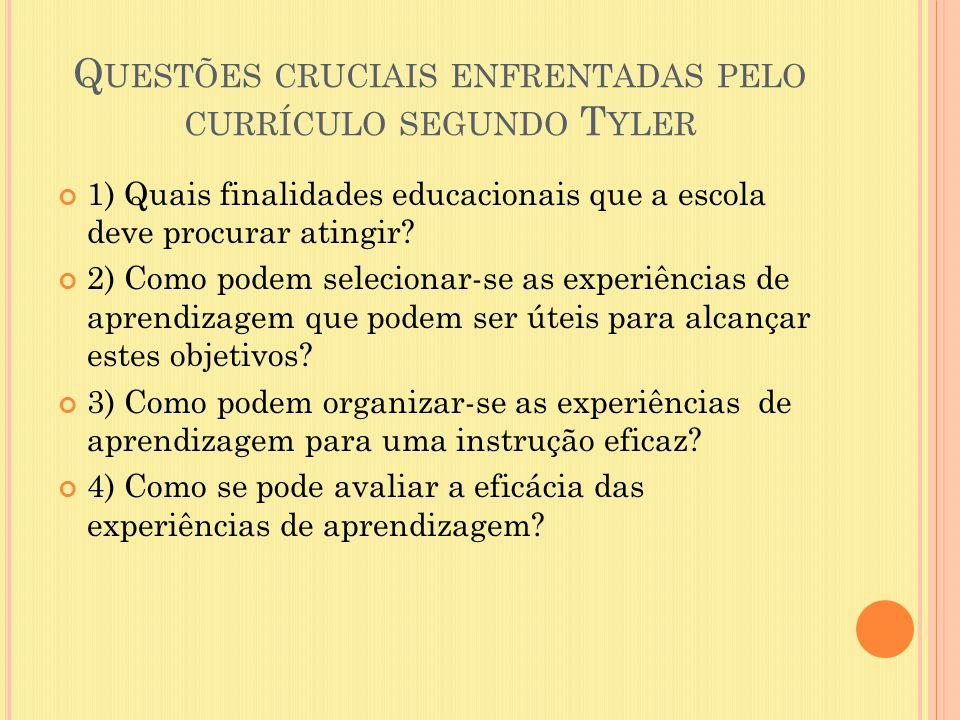 Questões cruciais enfrentadas pelo currículo segundo Tyler