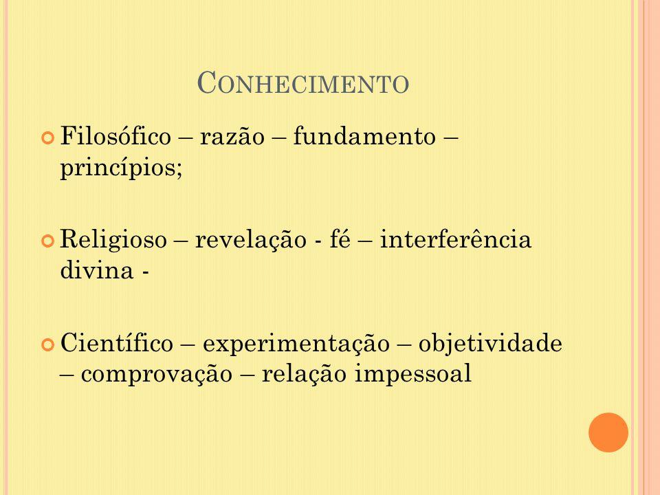 Conhecimento Filosófico – razão – fundamento – princípios;