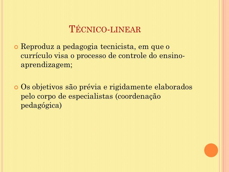 Técnico-linear Reproduz a pedagogia tecnicista, em que o currículo visa o processo de controle do ensino- aprendizagem;