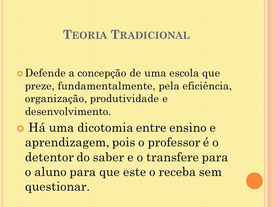 Teoria Tradicional Defende a concepção de uma escola que preze, fundamentalmente, pela eficiência, organização, produtividade e desenvolvimento.