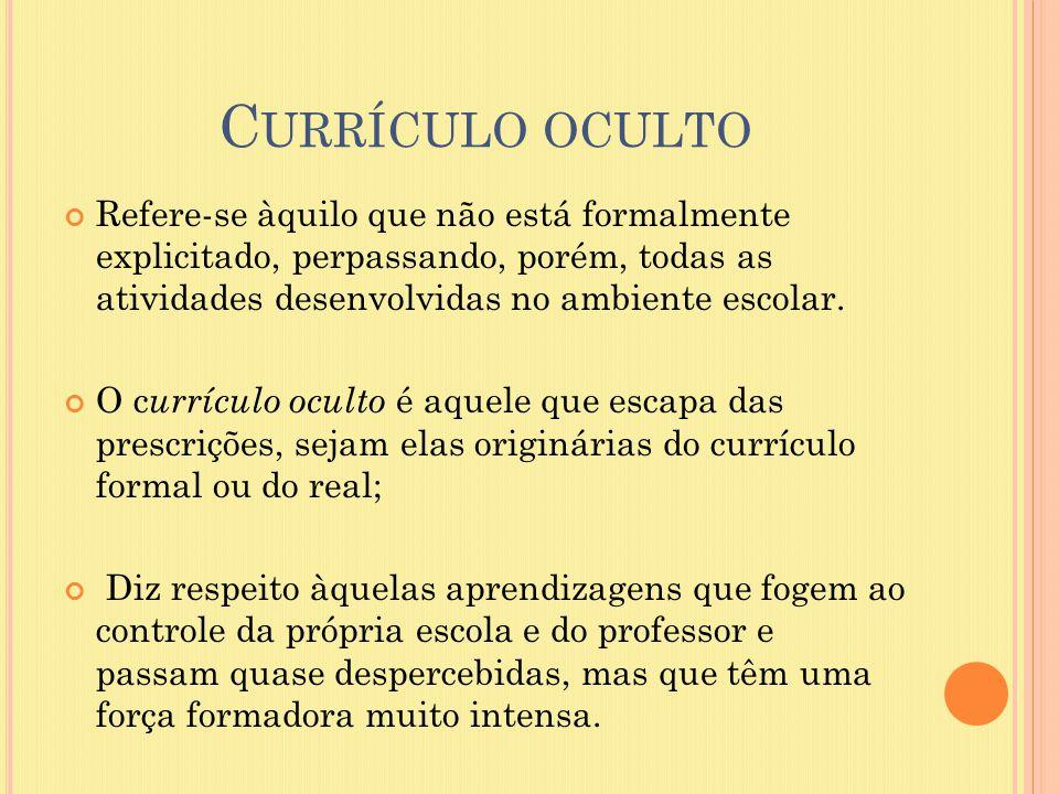 Currículo oculto Refere-se àquilo que não está formalmente explicitado, perpassando, porém, todas as atividades desenvolvidas no ambiente escolar.