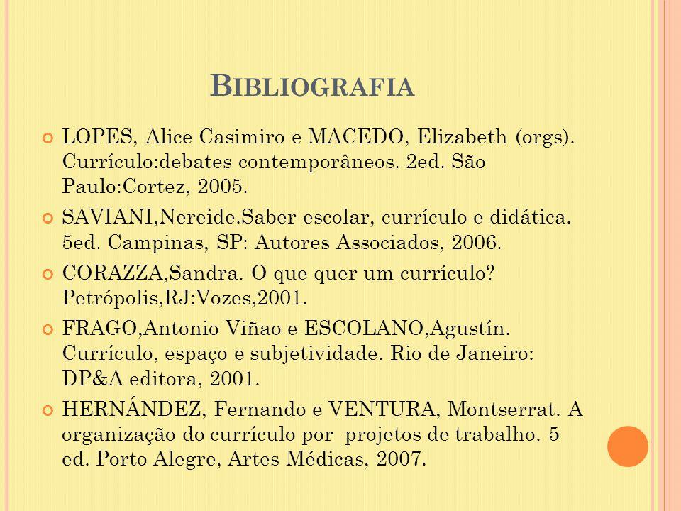 Bibliografia LOPES, Alice Casimiro e MACEDO, Elizabeth (orgs). Currículo:debates contemporâneos. 2ed. São Paulo:Cortez, 2005.